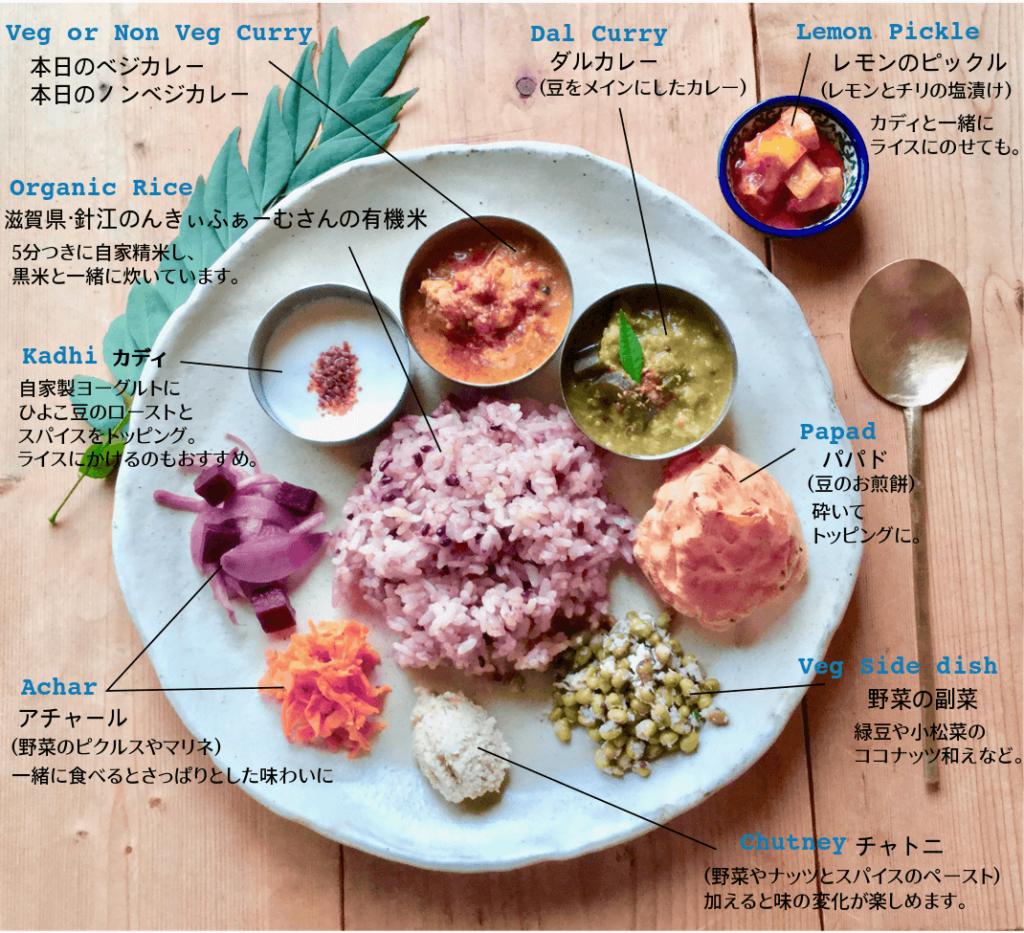 本日のカレープレート。ベジかノンベジカレー、ダル、カディ、アチャール、チャトニ 、パパド、レモンのピックル、野菜の副菜、針江のんきぃふぁーむの有機米。